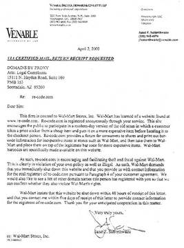 Cease and Desist Order from Wall-Mart Stores inc.