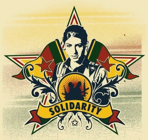 Solidarity with the revolution in Rojava (poster)